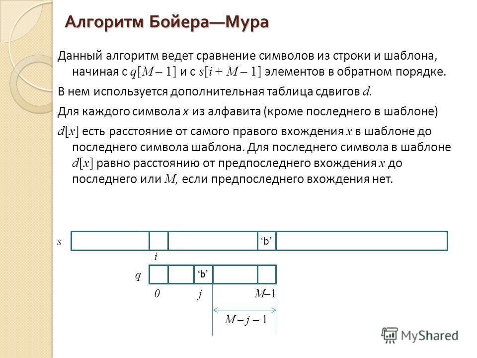 Алгоритм Бойера Мура Данный алгоритм ведет сравнение символов из строки и шаблона, начиная с q[М – 1] и с s[i + М – 1] элементов в обратном порядке. В нем используется дополнительная таблица сдвигов d. Для каждого символа x из алфавита (кроме последн