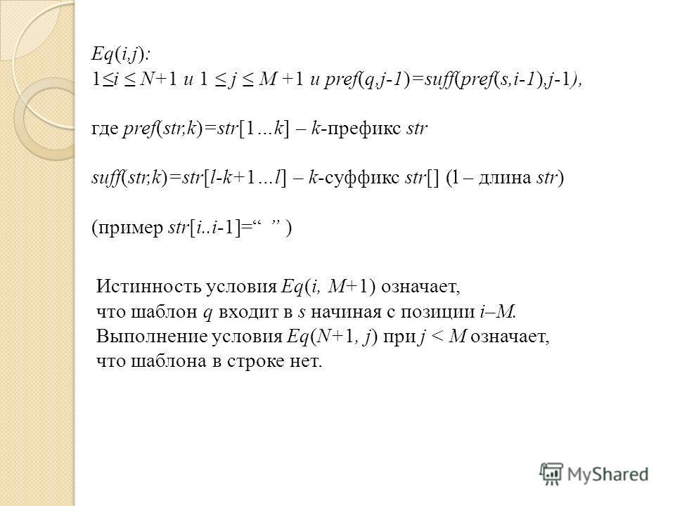 Истинность условия Eq(i, M+1) означает, что шаблон q входит в s начиная с позиции i–M. Выполнение условия Eq(N+1, j) при j < М означает, что шаблона в строке нет. Eq(i,j): 1i N+1 и 1 j M +1 и pref(q,j-1)=suff(pref(s,i-1),j-1), где pref(str,k)=str[1…k