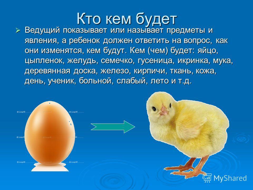 Кто кем будет Ведущий показывает или называет предметы и явления, а ребенок должен ответить на вопрос, как они изменятся, кем будут. Кем (чем) будет: яйцо, цыпленок, желудь, семечко, гусеница, икринка, мука, деревянная доска, железо, кирпичи, ткань,