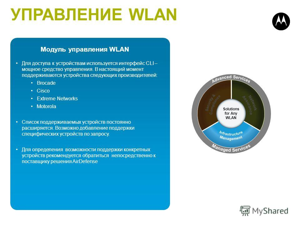 19 Infrastructure Management Multi-vendor Management Centralized Configuration Policy-based Fault Mgmt Automated Discovery Network Visualizations Firmware Management Solutions for Any WLAN 19 Для доступа к устройствам используется интерфейс CLI – мощ
