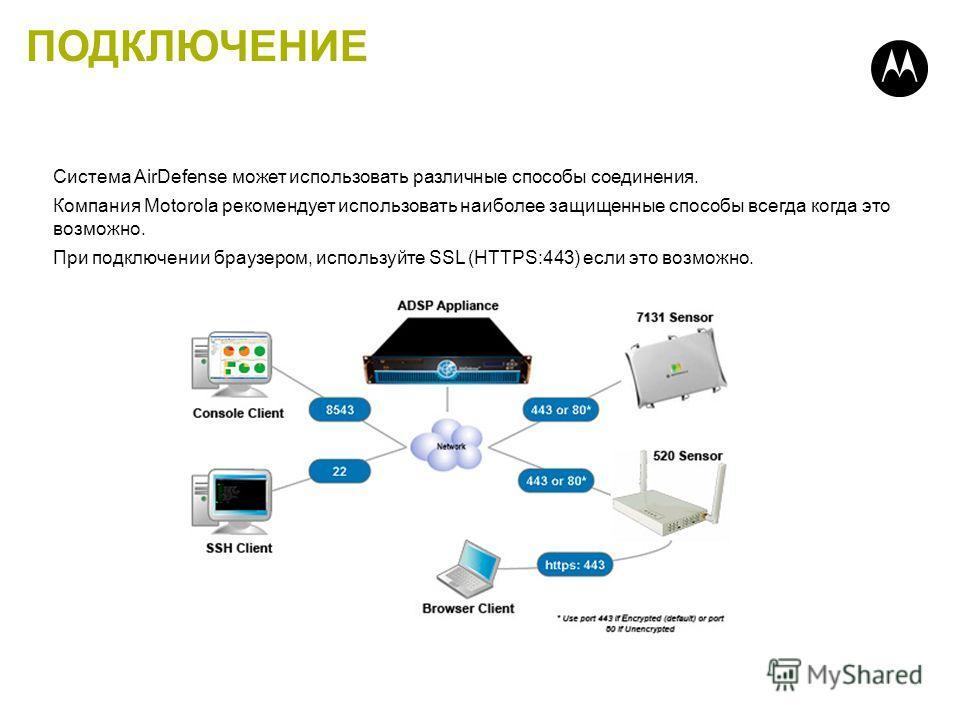 ПОДКЛЮЧЕНИЕ Система AirDefense может использовать различные способы соединения. Компания Motorola рекомендует использовать наиболее защищенные способы всегда когда это возможно. При подключении браузером, используйте SSL (HTTPS:443) если это возможно