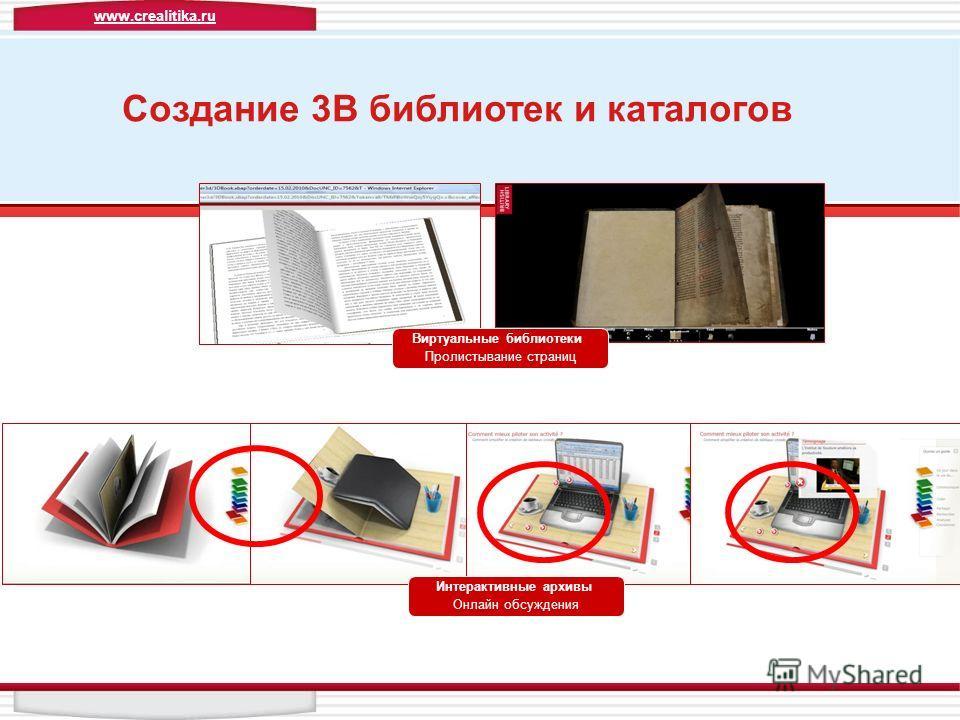 Виртуальные библиотеки Пролистывание страниц Интерактивные архивы Онлайн обсуждения Создание 3В библиотек и каталогов www.crealitika.ru
