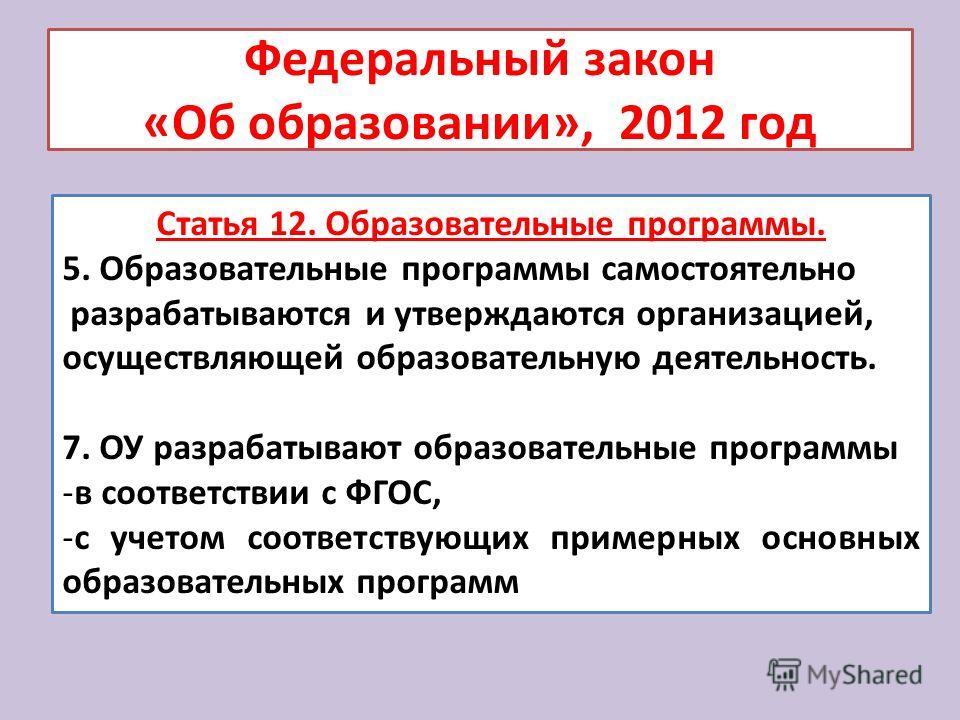 Федеральный закон «Об образовании», 2012 год Статья 12. Образовательные программы. 5. Образовательные программы самостоятельно разрабатываются и утверждаются организацией, осуществляющей образовательную деятельность. 7. ОУ разрабатывают образовательн
