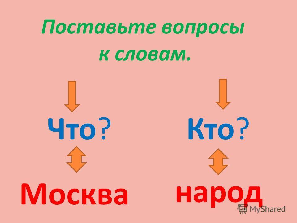 Поставьте вопросы к словам. Что?Кто? Москва народ