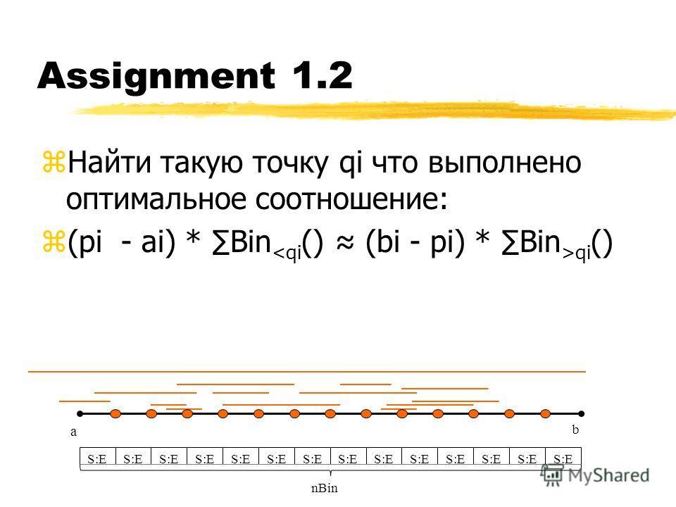 Assignment 1.2 z Найти такую точку qi что выполнено оптимальное соотношение: z(pi - ai) * Bin qi () a b S:E nBin