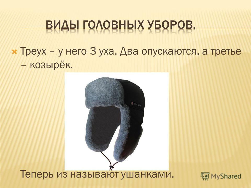 Треух – у него 3 уха. Два опускаются, а третье – козырёк. Теперь из называют ушанками.