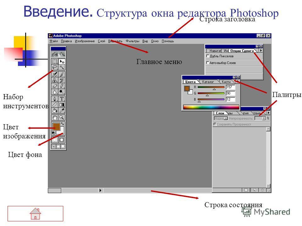 О программе Редактор Photoshop – это программа точечной графики, т.е. каждое изображение, с которым работает программа, состоит из точек, ячеек, называемых «пиксели» (pixels) – элементы изображения. Документом,т. е. объектом обработки графического ре