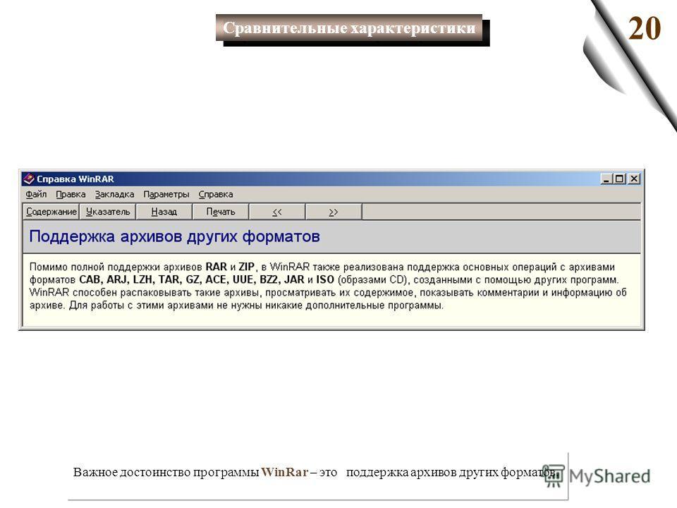 Важное достоинство программы WinRar – это поддержка архивов других форматов. 20 Сравнительные характеристики
