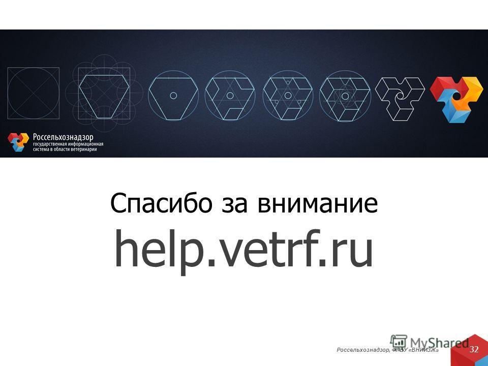 Россельхознадзор, ФГБУ «ВНИИЗЖ» 32 Спасибо за внимание help.vetrf.ru