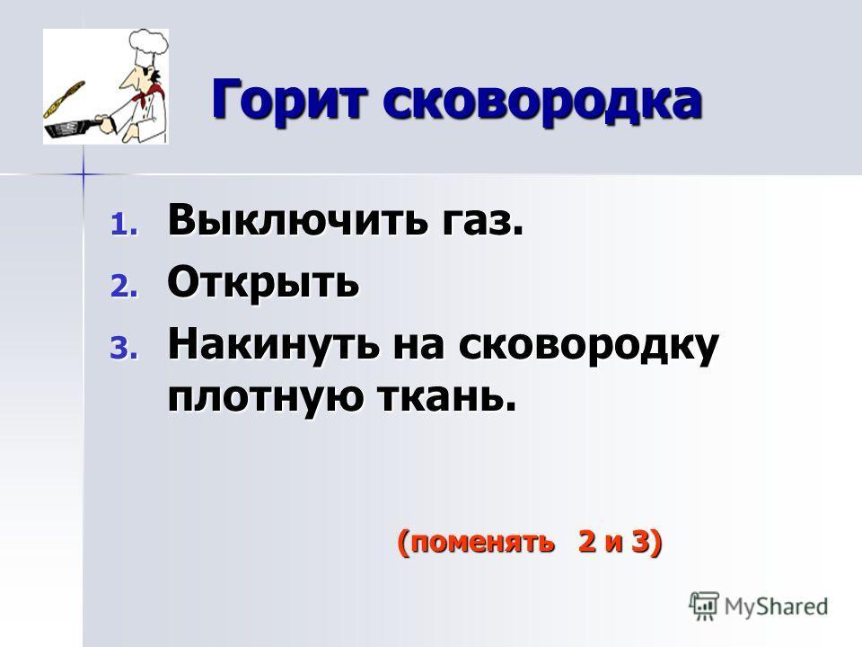 Горит сковородка 1. В ыключить газ. 2. О ткрыть 3. Н акинуть на сковородку плотную ткань. (поменять 2 и 3)