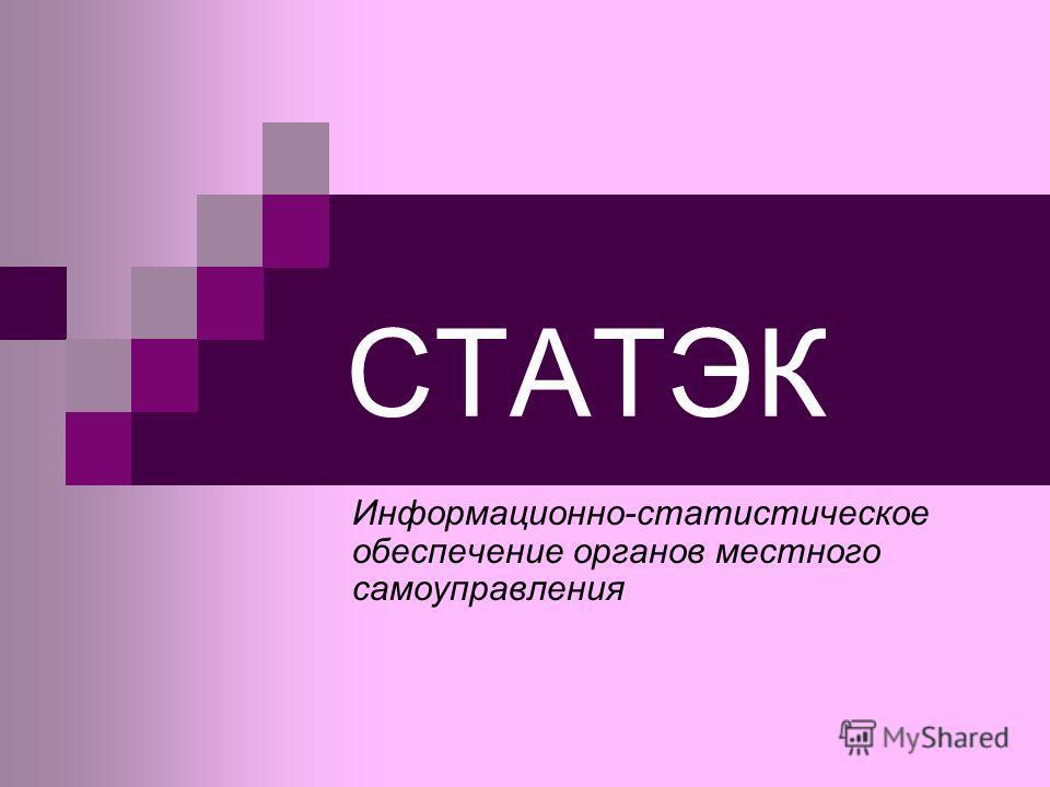 СТАТЭК Информационно-статистическое обеспечение органов местного самоуправления
