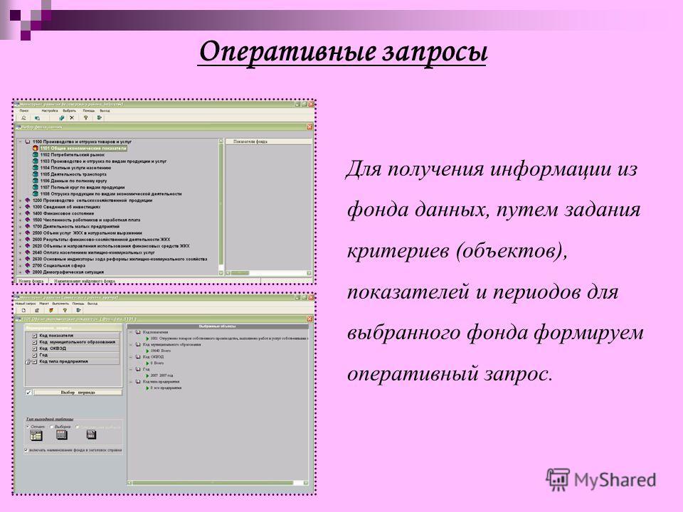 Оперативные запросы Для получения информации из фонда данных, путем задания критериев (объектов), показателей и периодов для выбранного фонда формируем оперативный запрос.
