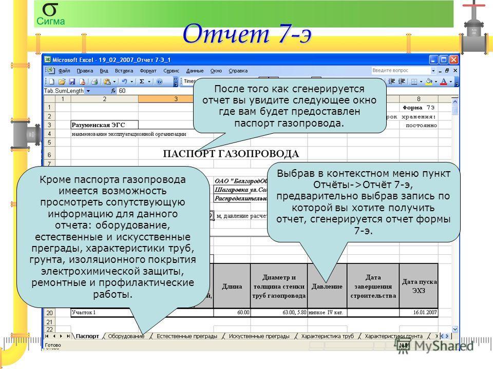 Отчет 7-э Выбрав в контекстном меню пункт Отчёты->Отчёт 7-э, предварительно выбрав запись по которой вы хотите получить отчет, сгенерируется отчет формы 7-э. После того как сгенерируется отчет вы увидите следующее окно где вам будет предоставлен пасп