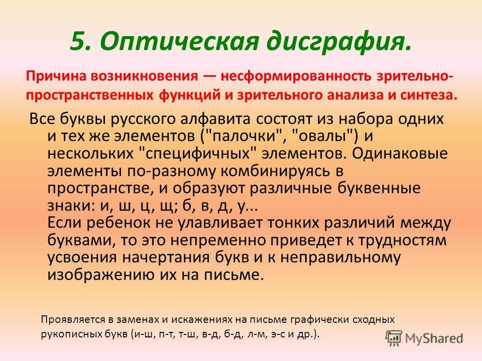 5. Оптическая дисграфия. Все буквы русского алфавита состоят из набора одних и тех же элементов (
