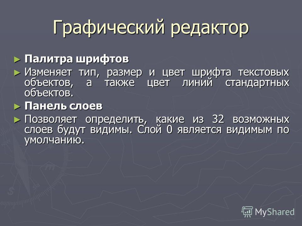 Графический редактор Палитра шрифтов Палитра шрифтов Изменяет тип, размер и цвет шрифта текстовых объектов, а также цвет линий стандартных объектов. Изменяет тип, размер и цвет шрифта текстовых объектов, а также цвет линий стандартных объектов. Панел