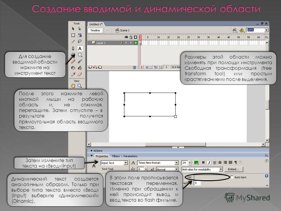 Для создание вводимой области нажмите на инструмент текст Затем измените тип текста на «Ввод»(input) После этого нажмите левой кнопкой мыши на рабочую область и, не отжимая, перетащите. Затем отпустите – в результате получится прямоугольная область в