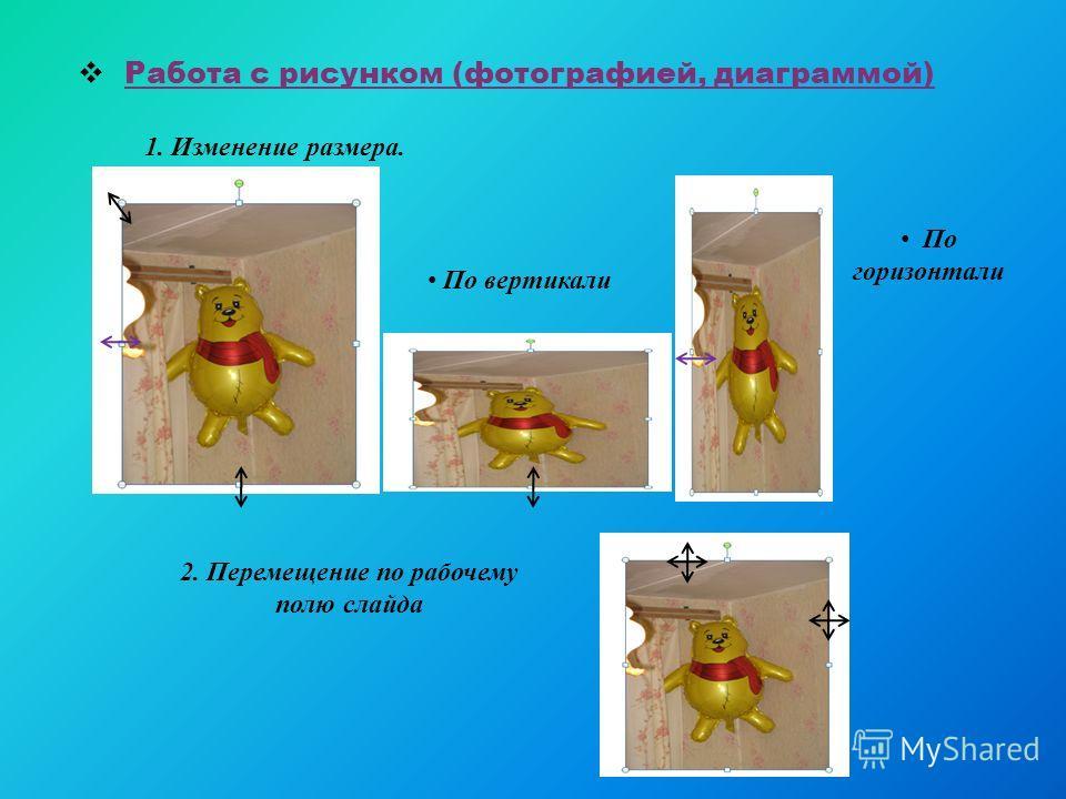 Работа с рисунком (фотографией, диаграммой) 1. Изменение размера. По вертикали По горизонтали 2. Перемещение по рабочему полю слайда