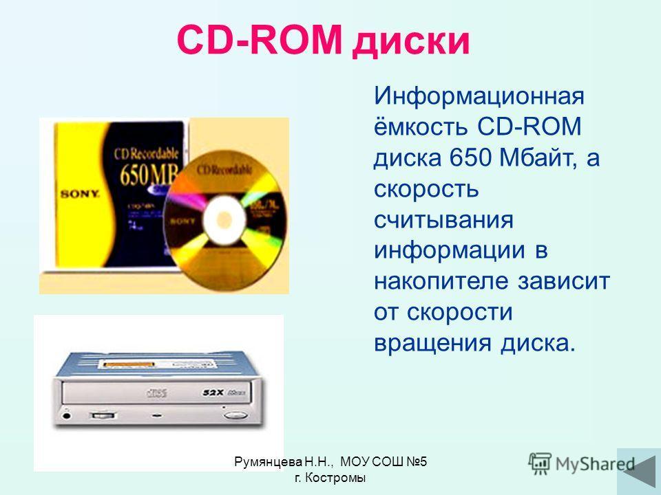 Система лазерного диска (CD-ROM) Эта система служит для использования компакт-дисков (аудио, компьютерных, фото). Устройство для чтения компакт-дисков Румянцева Н.Н., МОУ СОШ 5 г. Костромы