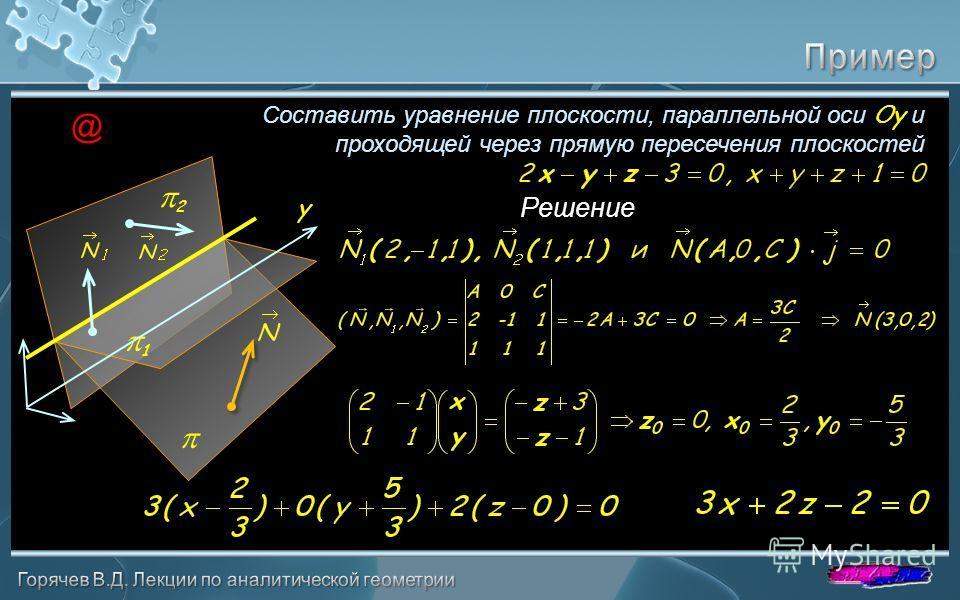 Составить уравнение плоскости, параллельной оси Oy и проходящей через прямую пересечения плоскостей Решение 1 2 @ y
