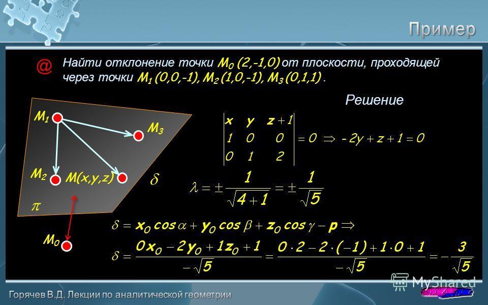 Найти отклонение точки M 0 (2,-1,0) от плоскости, проходящей через точки M 1 (0,0,-1), M 2 (1,0,-1), M 3 (0,1,1). Решение M 1 M 2 M 3 M 0 M(x,y,z) @