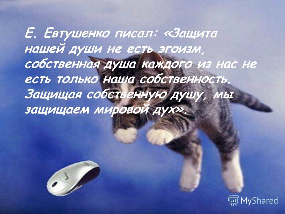 Е. Евтушенко писал: «Защита нашей души не есть эгоизм, собственная душа каждого из нас не есть только наша собственность. Защищая собственную душу, мы защищаем мировой дух».