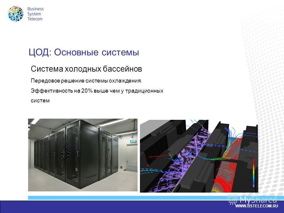 Система холодных бассейнов Передовое решение системы охлаждения. Эффективность на 20% выше чем у традиционных систем WWW.BSTELECOM.RU ЦОД: Основные системы