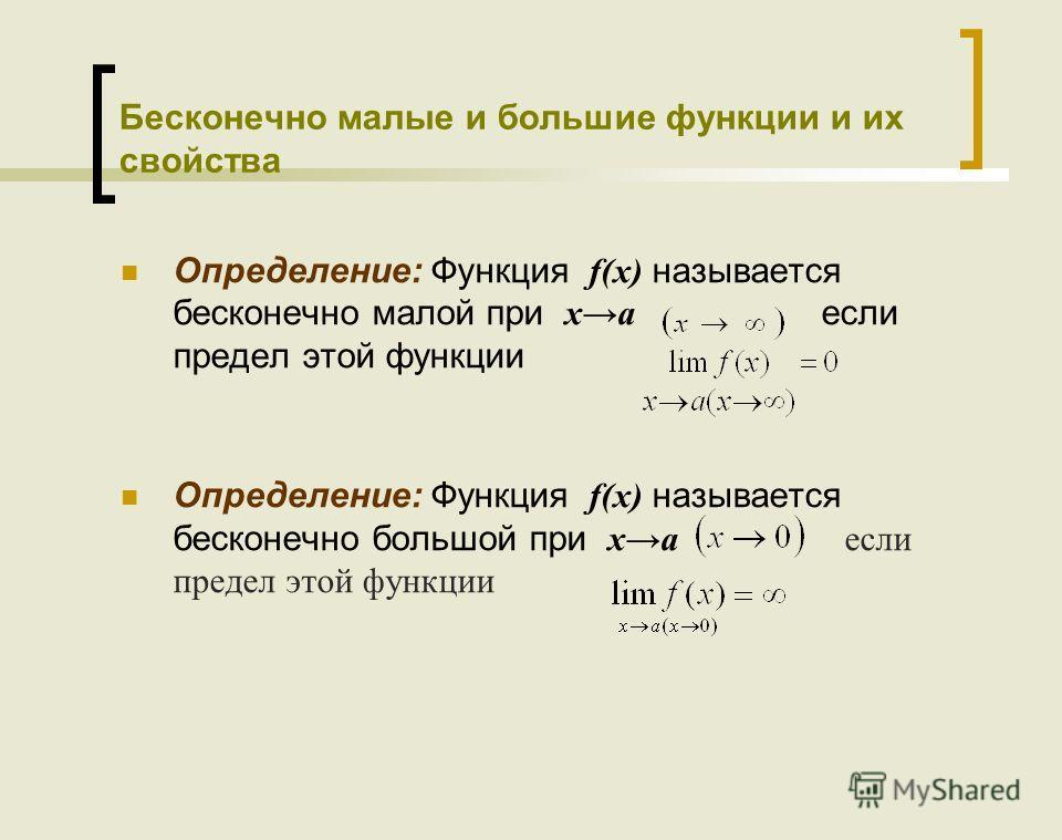 Бесконечно малые и большие функции и их свойства Определение: Функция f(x) называется бесконечно малой при xa если предел этой функции Определение: Функция f(x) называется бесконечно большой при xa если предел этой функции