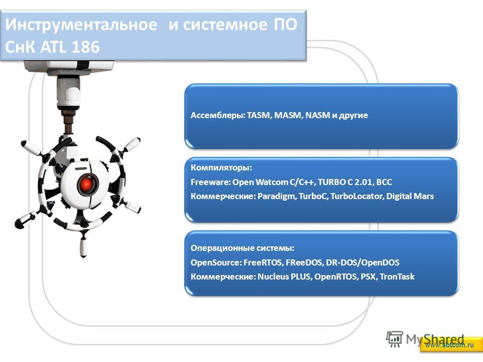 Инструментальное и системное ПО СнК ATL 186 www.sbtcom.ru Ассемблеры: TASM, MASM, NASM и другие Компиляторы: Freeware: Open Watcom C/C++, TURBO C 2.01, BCC Коммерческие: Paradigm, TurboC, TurboLocator, Digital Mars Операционные системы: OpenSource: F
