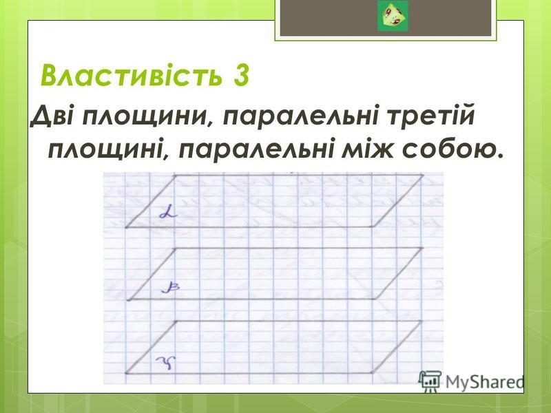Властивість 3 Дві площини, паралельні третій площині, паралельні між собою.