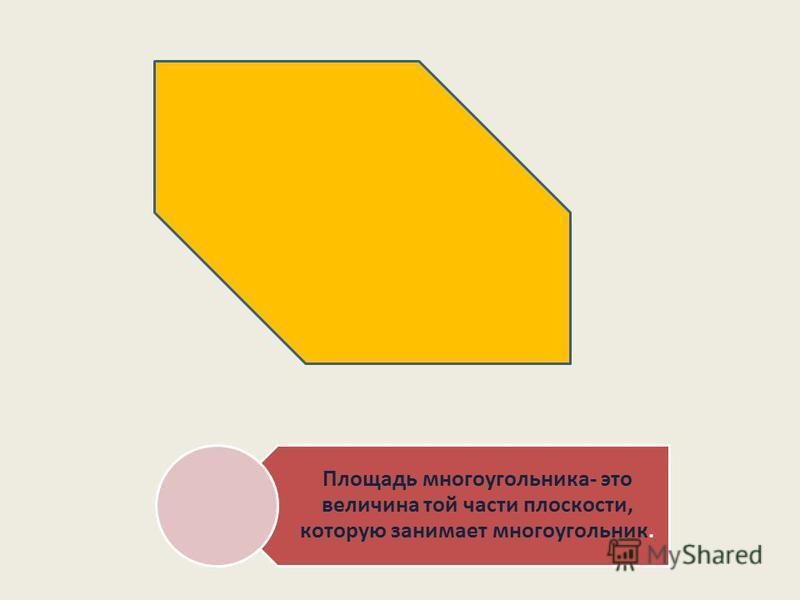 Площадь многоугольника- это величина той части плоскости, которую занимает многоугольник.
