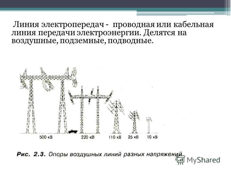 Линия электропередач - проводная или кабельная линия передачи электроэнергии. Делятся на воздушные, подземные, подводные.