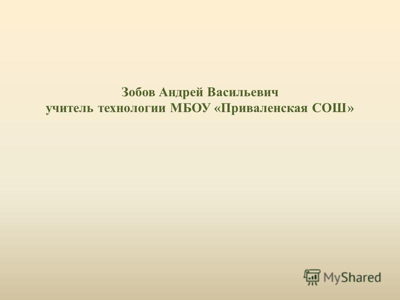 Зобов Андрей Васильевич учитель технологии МБОУ «Приваленская СОШ»