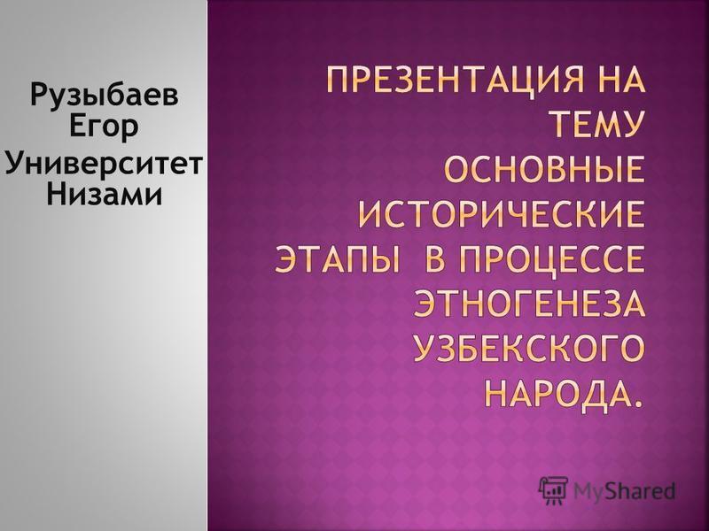 Рузыбаев Егор Университет Низами