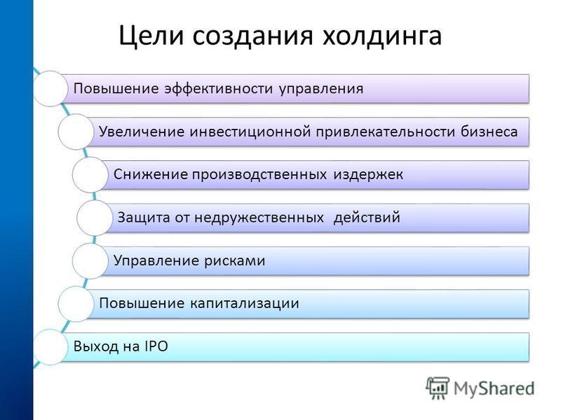Цели создания холдинга