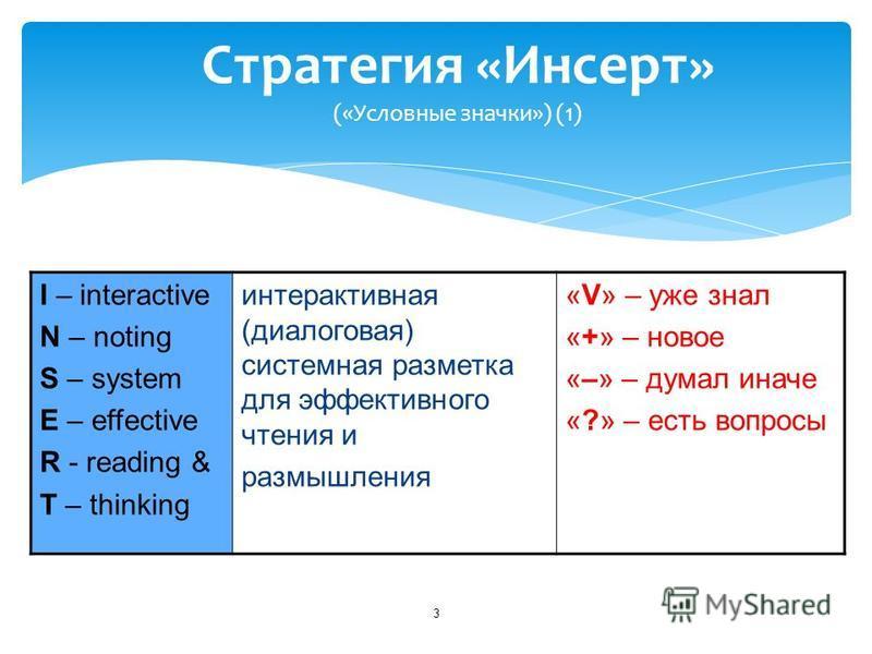 3 Стратегия «Инсерт» («Условные значки») (1) I – interactive N – noting S – system E – effective R - reading & T – thinking интерактивная (диалоговая) системная разметка для эффективного чтения и размышления «V» – уже знал «+» – новое «–» – думал ина
