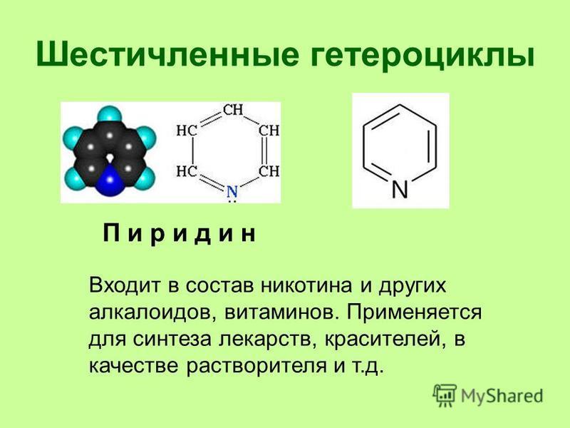 Шестичленные гетероциклы П и р и д и н Входит в состав никотина и других алкалоидов, витаминов. Применяется для синтеза лекарств, красителей, в качестве растворителя и т.д.