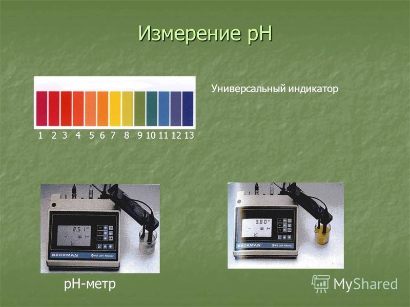 Измерение pH рН-метр Универсальный индикатор 1 2 3 4 5 6 7 8 9 10 11 12 13
