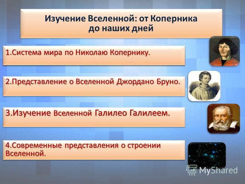 Изучение Вселенной: от Коперника до наших дней Изучение Вселенной: от Коперника до наших дней 1. Система мира по Николаю Копернику. 3. Изучение Вселенной Галилео Галилеем. 4. Современные представления о строении Вселенной. 2. Представление о Вселенно