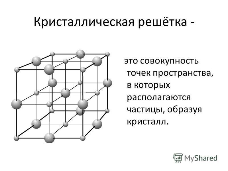 Кристаллическая решётка - это совокупность точек пространства, в которых располагаются частицы, образуя кристалл.