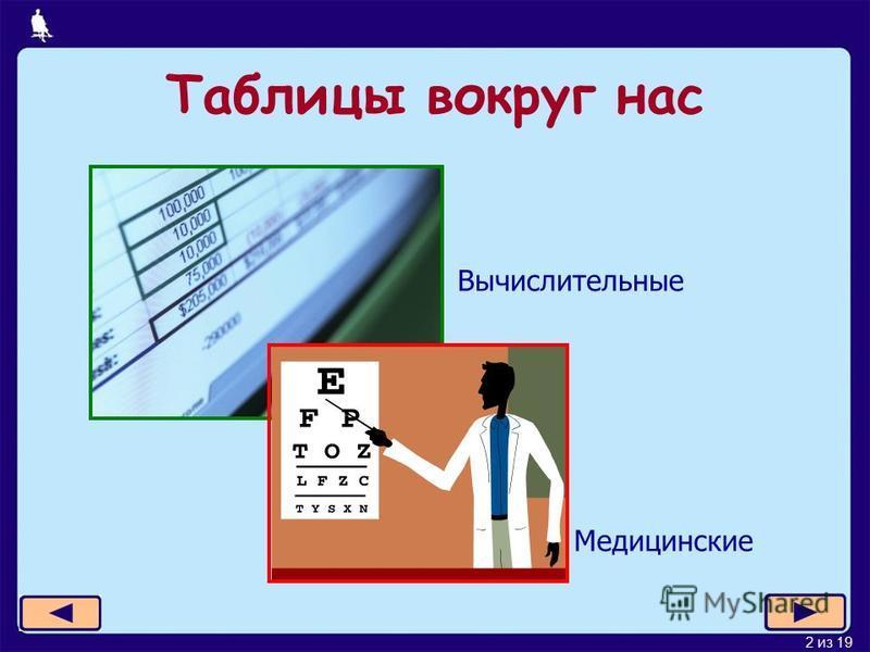 2 из 19 Таблицы вокруг нас Вычислительные Медицинские