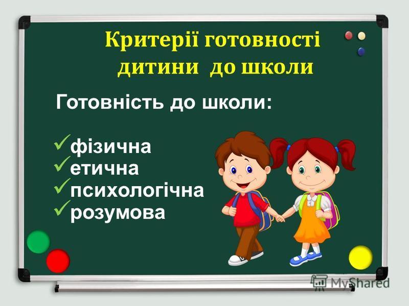 Критерії готовності дитини до школи Готовність до школи: фізична етична психологічна розумова