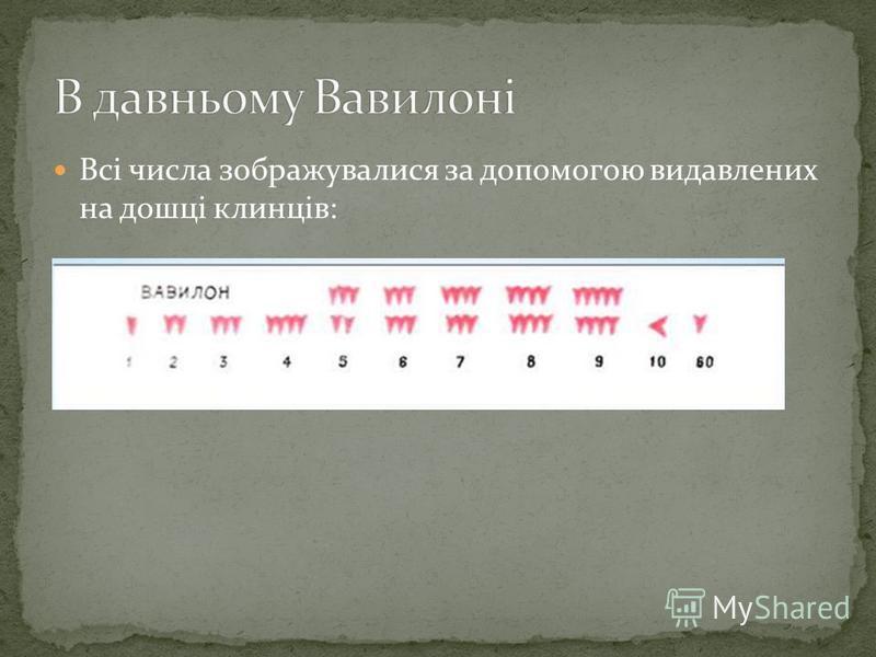 Всі числа зображувалися за допомогою видавлених на дошці клинців: