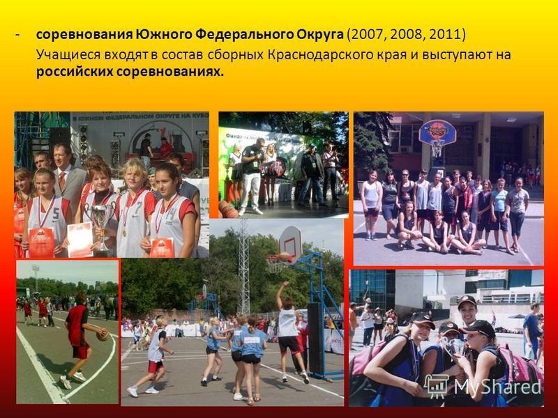 -соревнования Южного Федерального Округа (2007, 2008, 2011) Учащиеся входят в состав сборных Краснодарского края и выступают на российских соревнованиях.
