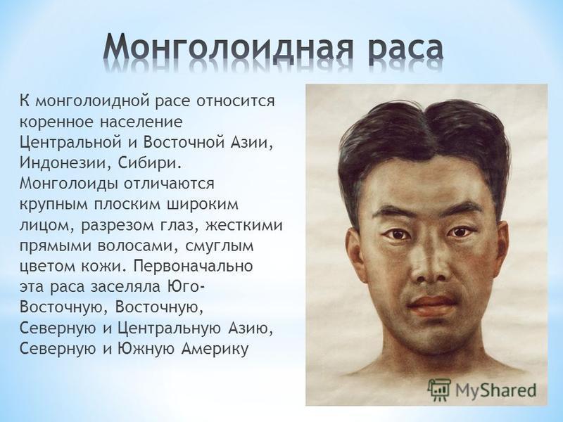 К монголоидной расе относится коренное население Центральной и Восточной Азии, Индонезии, Сибири. Монголоиды отличаются крупным плоским широким лицом, разрезом глаз, жесткими прямыми волосами, смуглым цветом кожи. Первоначально эта раса заселяла Юго-