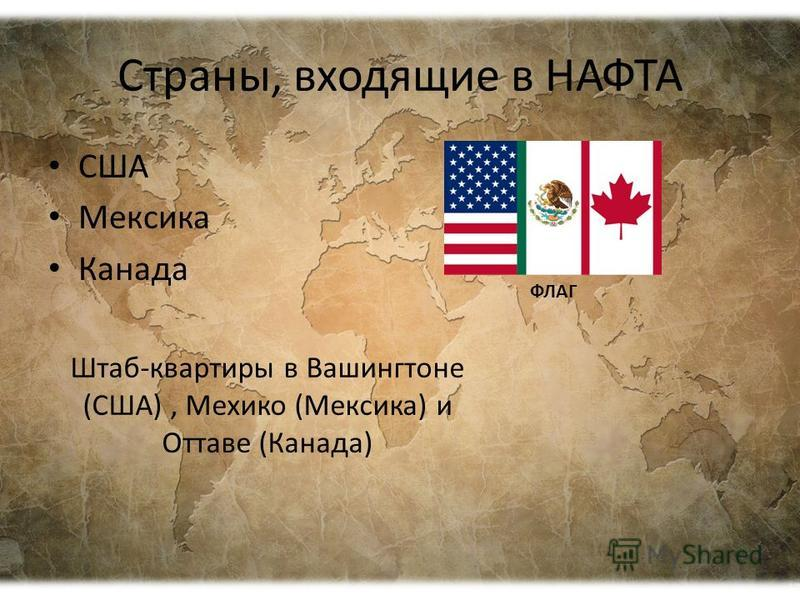 Страны, входящие в НАФТА США Мексика Канада Штаб-квартиры в Вашингтоне (США), Мехико (Мексика) и Оттаве (Канада) ФЛАГ