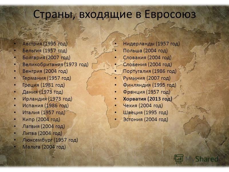 Страны, входящие в Евросоюз Австрия (1995 год) Бельгия (1957 год) Болгария (2007 год) Великобритания (1973 год) Венгрия (2004 год) Германия (1957 год) Греция (1981 год) Дания (1973 год) Ирландия (1973 год) Испания (1986 год) Италия (1957 год) Кипр (2