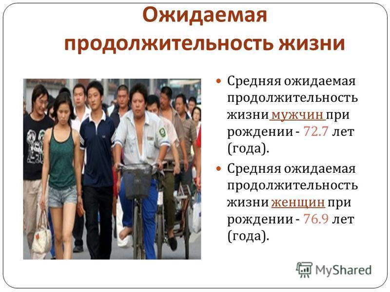 Ожидаемая продолжительность жизни Средняя ожидаемая продолжительность жизни мужчин при рождении - 72.7 лет ( года ). Средняя ожидаемая продолжительность жизни женщин при рождении - 76.9 лет ( года ).