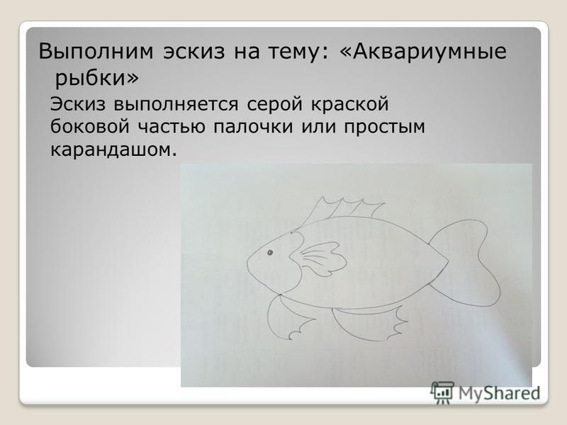 Выполним эскиз на тему: «Аквариумные рыбки» Эскиз выполняется серой краской боковой частью палочки или простым карандашом.