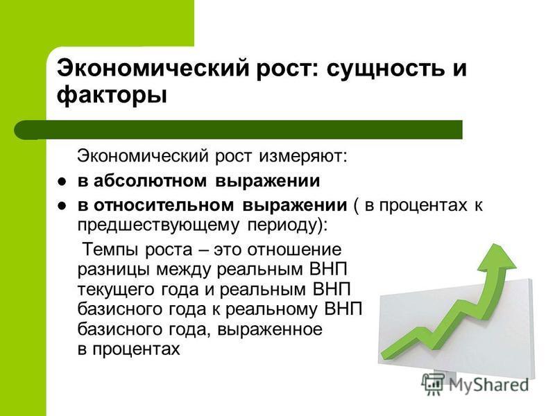 Экономический рост: сущность и факторы Экономический рост измеряют: в абсолютном выражении в относительном выражении ( в процентах к предшествующему периоду): Темпы роста – это отношение разницы между реальным ВНП текущего года и реальным ВНП базисно