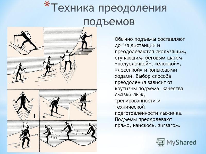 Обычно подъемы составляют до /з дистанции и преодолеваются скользящим, ступающим, беговым шагом, «полуелочкой», «елочкой», «лесенкой» и коньковыми ходами. Выбор способа преодоления зависит от крутизны подъема, качества смазки лыж, тренированности и т
